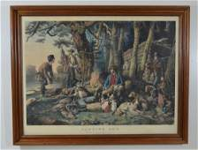 "Large Folio Currier & Ives ""Camping Out"""