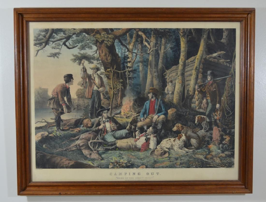 """Large Folio Currier & Ives """"Camping Out"""""""