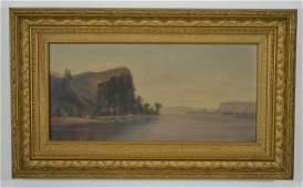 Mountain  Lake Scene Oil on Canvas Painting