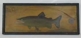 Folk Art Fish Painted On Wooden Board