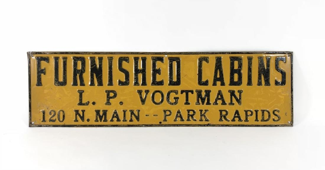 Furnished Cabins Pressed Tin Sign