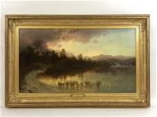 """Charles Chapin """"Morning on Upper Saranac"""" Painting"""