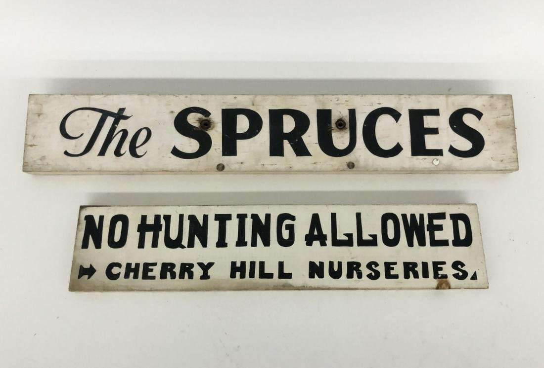 Two Wooden Adirondack Camp Signs