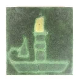 "Grueby Pottery 6"" Candle Stick Tile"