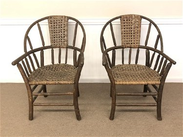 Pair of Old Hickory Sack Back Arm Chairs