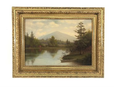 Adirondack Scene Oil on Canvas Painting with Boat