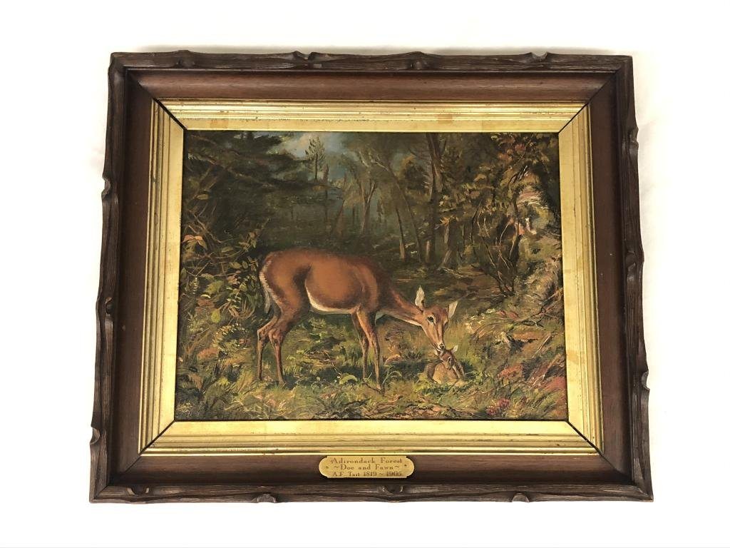 A.F. Tait Oil Painting on Board of Doe and Fawn