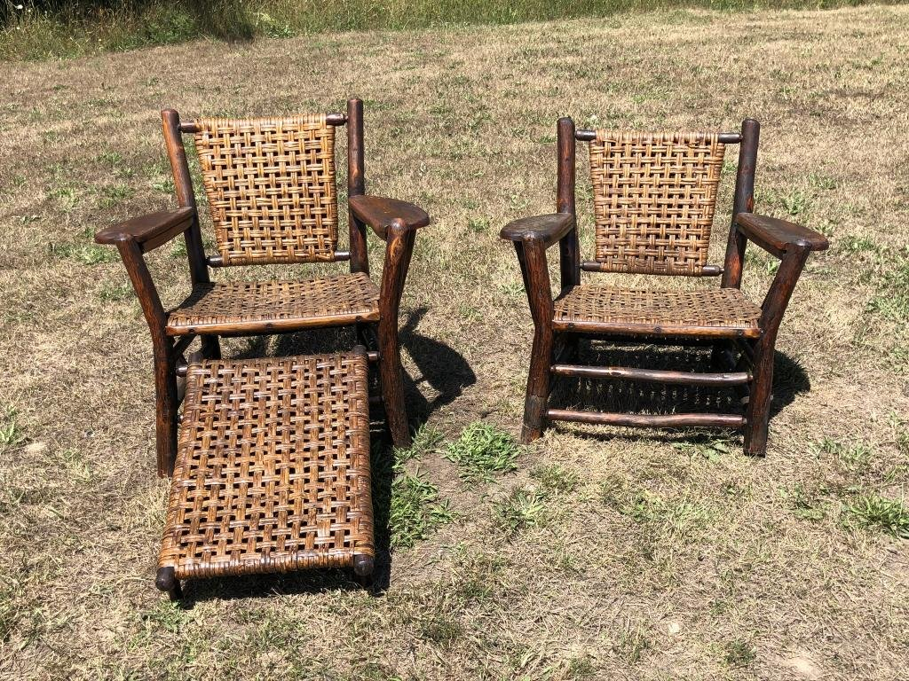 Pair of Old Hickory Paddle Arm Chairs & Foot Rest