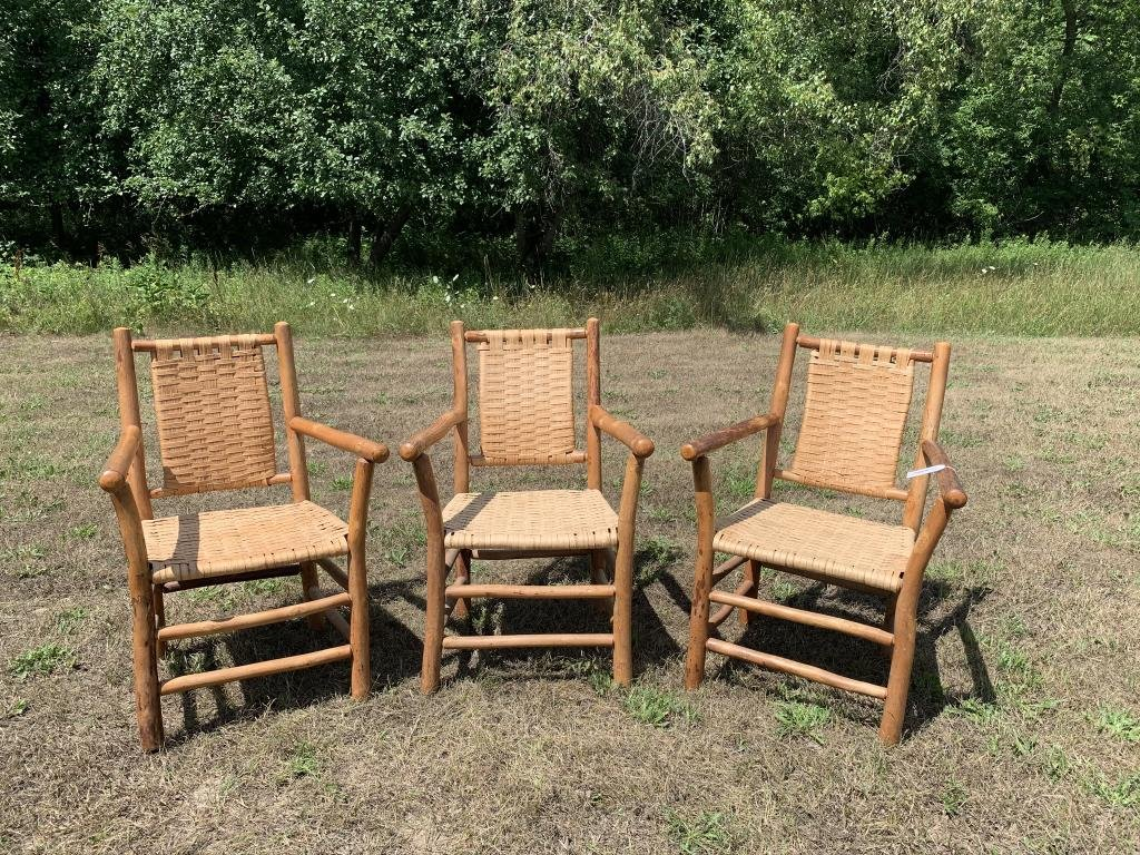 Set of 3 Old Hickory Arm Chairs