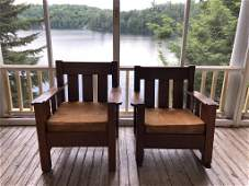 Mission Oak Arm Chair and Rocker