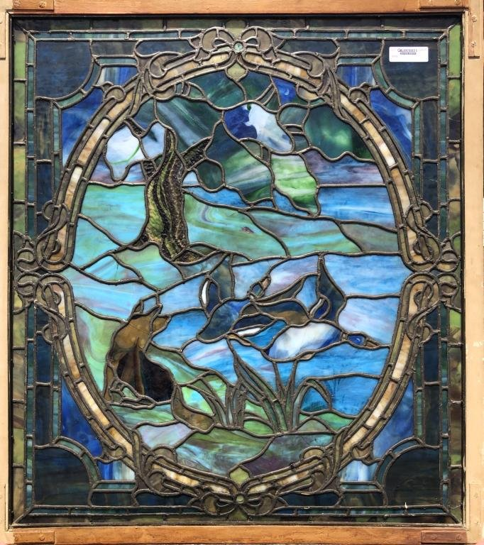 Antique Stained Glass Window with Mallard Ducks