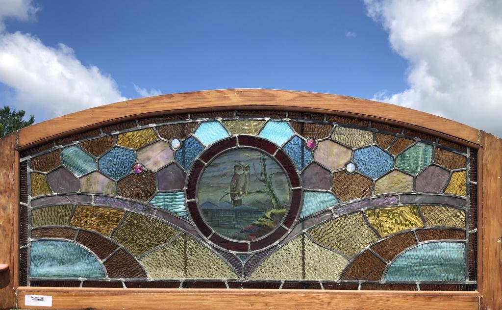 Owl Arched Top Stained Glass Window