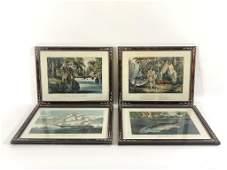 4 Currier  Ives Framed Lithographs