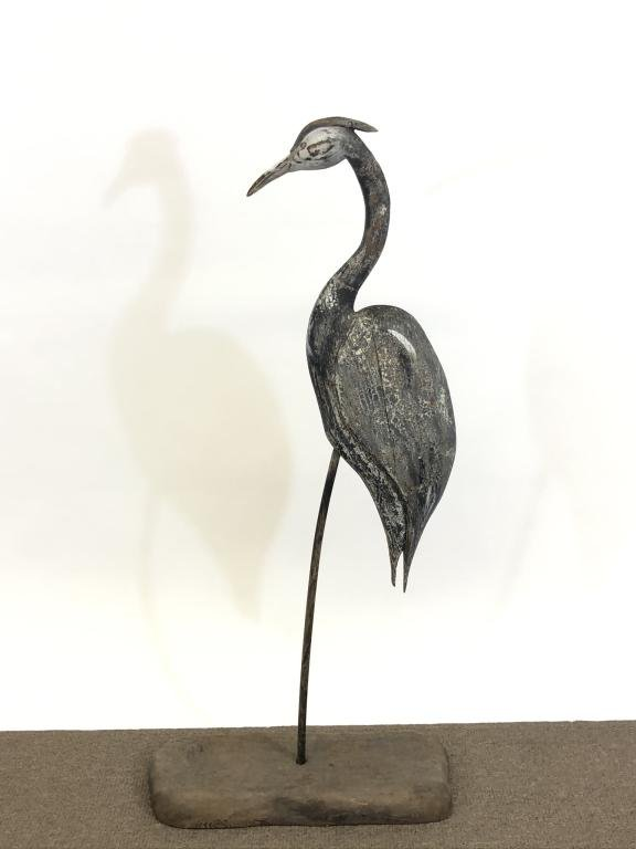 Wooden Carved and Painted Blue Heron