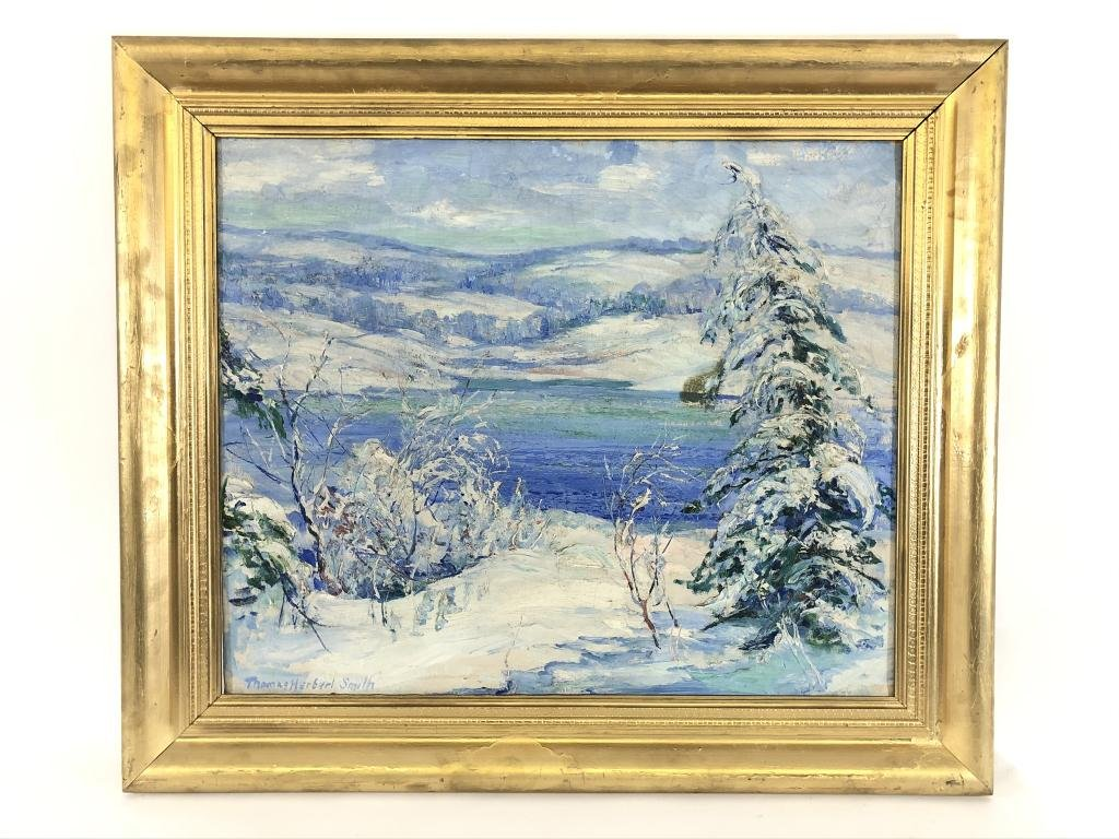 Thomas Herbert Smith Oil on Canvas Winter Scene
