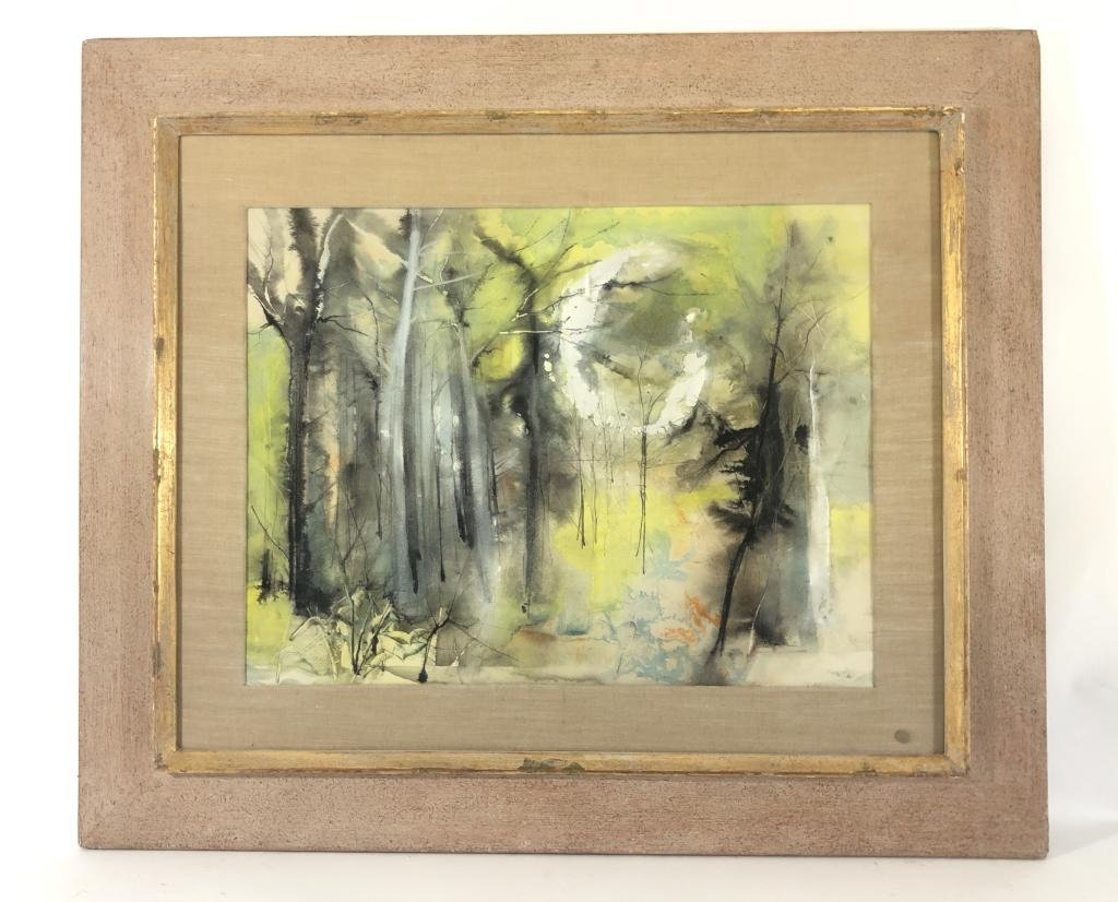"William Thon Watercolor Painting ""Spring Woods"""
