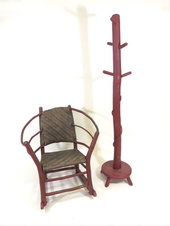 Old Hickory Painted Rocker & Rustic Coat Tree