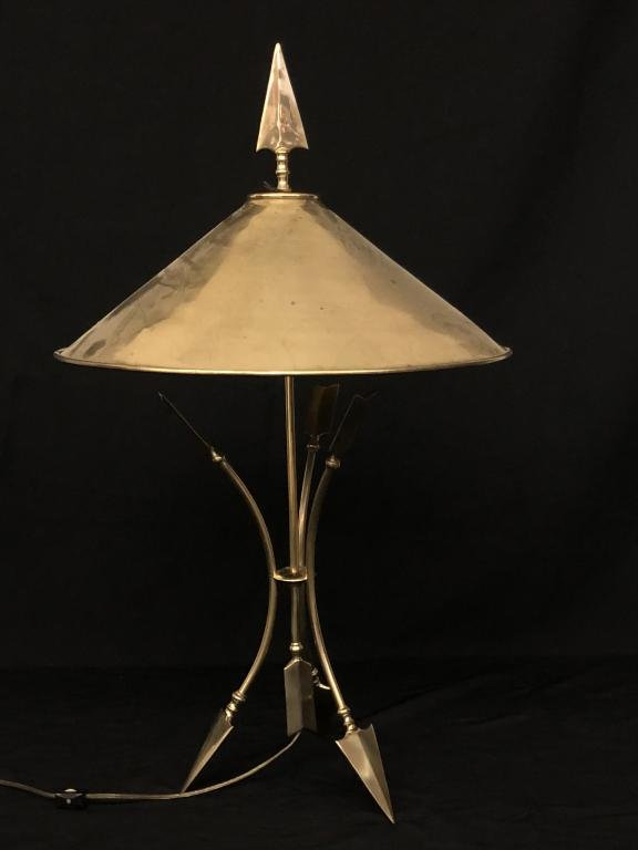 Contemporary Brass Table Lamp with Arrow Base