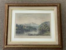 """Currier & Ives """"The Frontier Lake"""" Lithograph"""