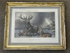 """Currier & Ives """"The Stag at Bay"""""""