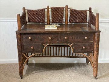 Rare Old Hickory Writing Desk w/ Gallery
