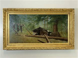 E. A. Humphrey Hunting Camp Oil Painting