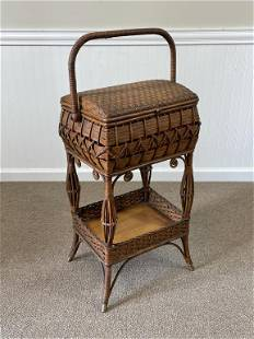 Heywood Wakefield Wicker Sewing Stand