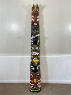 Authentic Northwest Indian Carved Totem Pole