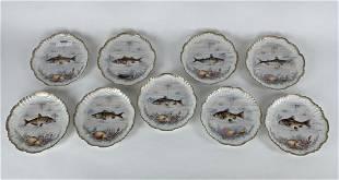 9 Limoge Fish Plates
