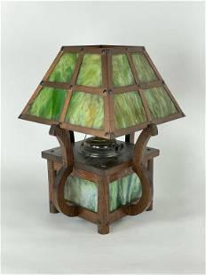 Arts & Crafts Slag Glass Table Lamp
