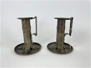Pair of Arts & Crafts Copper Chamber Sticks