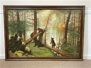 Oil on Canvas of 4 Bears by J. Cz. Czarnecki