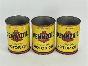3 Pennzoil Motor Oil 1 Quart Tins