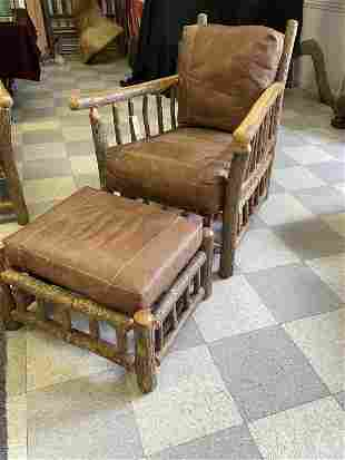 Old Hickory Arm Chair & Ottoman w/ Leather Cushion