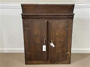 Early Folk Art Two Door Wall Cabinet