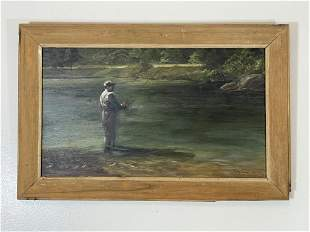 Betty Fisher Oil on Board of Fly Fisherman