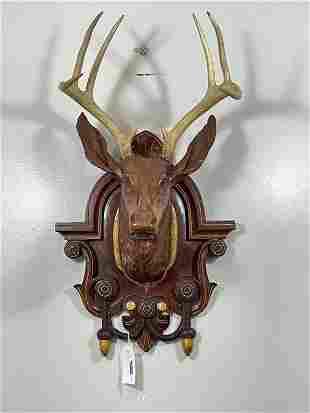 1890s Walnut Black Forest Deer Head