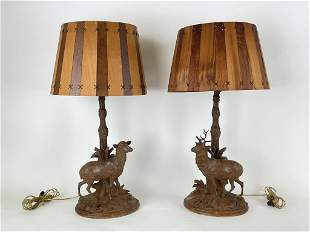 Rare Pair of Black Forest Elk Table Lamps