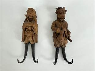 Pair of Black Forest Carved Hat Hooks