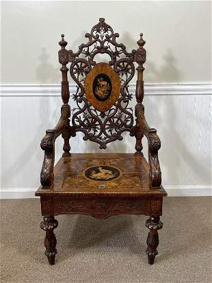 Fabulous Black Forest Carved and Inlaid Arm Chair