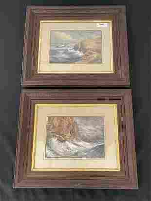 Pair of Seascape Watercolor Paintings by O.N. Rood