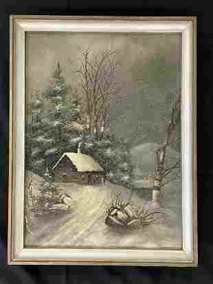 Log Cabin Winter Scene Oil on Canvas Painting