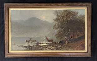 Clarence Alphonse Gagnon Oil Painting of Deer