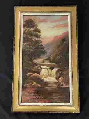 Adirondack Oil on Canvas Painting w/ Waterfalls
