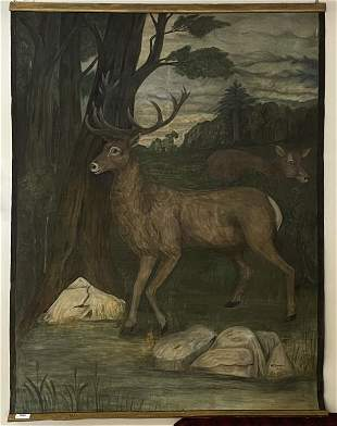 Nellie E. Bombard Large Oil on Canvas of Deer