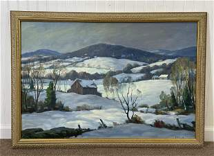 George Halloway Oil on Canvas Winter Countryside