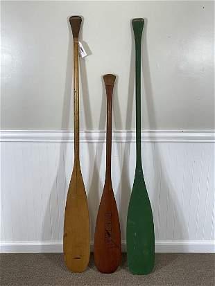 3 Wooden Canoe Paddles