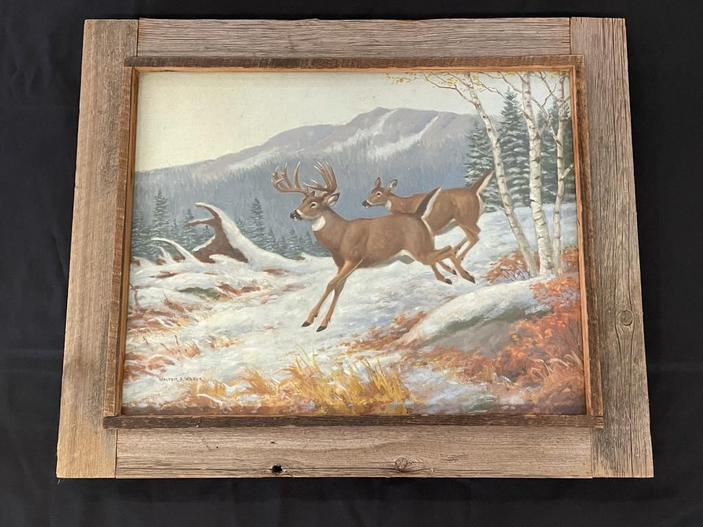 Walter A. Weber Whitetail Deer Oil Painting
