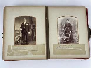 Early Photo Album w/ Portraits Using Rustic Props