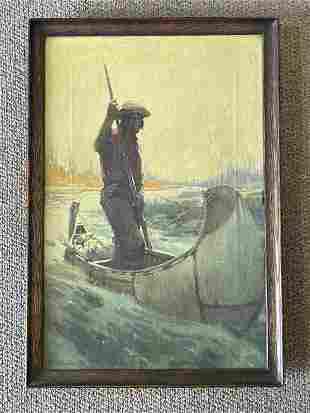 Henry James Soulen Hunter in Birch Bark Canoe